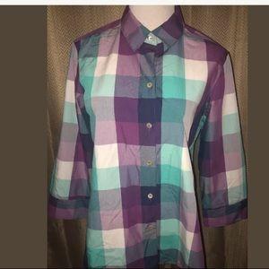 Foxcroft Purple Teal Shirt 10 Button Down